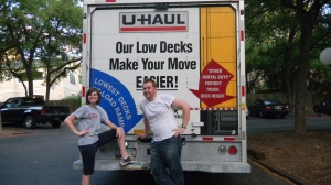 Candace and I standing in front of the uhaul